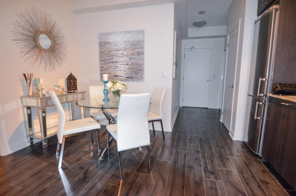 Staged condo dining area